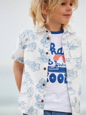 Short Sleeve Hawaiian Shirt for Boys- white light all over printed