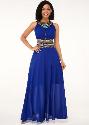 Sleeveless Tribal Print Royal Blue Maxi Chiffon Dress