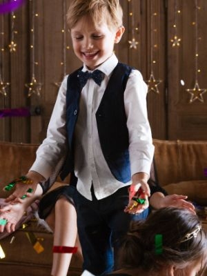 Special Occasion 3-Item Set: Shirt + Waistcoat + Bow-tie, for Boys- white light solid