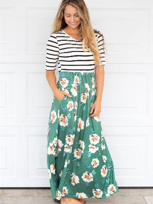 Stripe and Floral Maxi Dress - Green