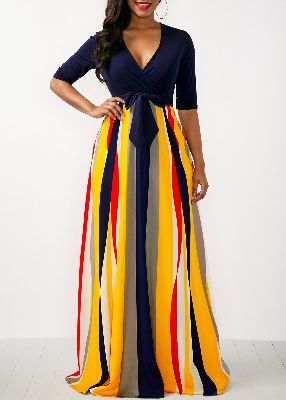 Striped V Neck Half Sleeve Rainbow Color Dress