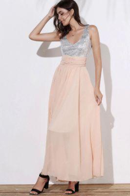 Stylish V-Neck Sleeveless Spliced Sequined Dress