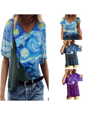 Woman Van Gogh Starry Print Casual V-neck T-shirtWZ