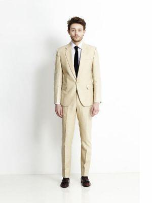 1 Button Beige Linen For Beach Wedding Outfit Suit