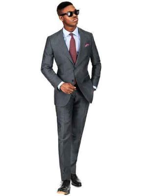 2 Button Dark Charcoal Gray Linen For Beach Wedding Outfit - Men's Summer Suit