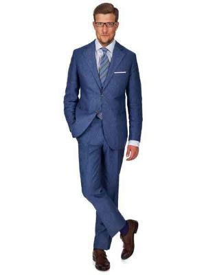 2 Button Sky Blue Linen For Beach Wedding Outfit - Men's Summer Suit