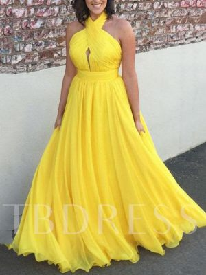 A-Line Hollow Halter Pleats Prom Dress
