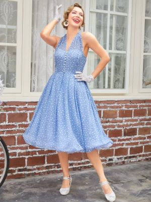 BLUE 1950S RAINDROPS HALTER SWING DRESS
