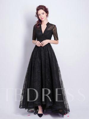 Half Sleeve Beading Ankle-Length Lace Evening Dress