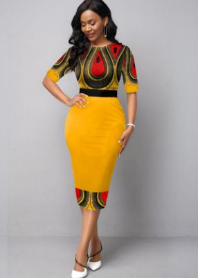 Half Sleeve Round Neck Tribal Print Dress