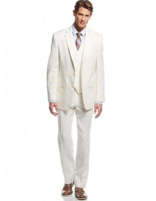 Linen For Beach Wedding Outfit Fabric Ivory Cream Vested 3 Piece Suit 2 Button Suit - Mens Cream Suit - Cream Wedding Suit