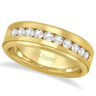 MEN'S CHANNEL SET DIAMOND RING WEDDING BAND 14KT YELLOW GOLD (1/4CT)