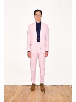 Pink Linen For Beach Wedding Outfit 2 Button Suit