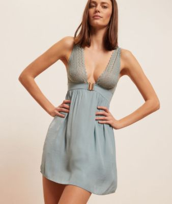 VOYAGESatin nightie with lace neckline and back