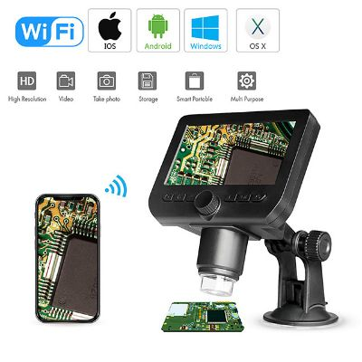 Wifi Digital Microscope 4.3LED Screen Display 720P 50X-1000X Magnification 1080P FHD 2.0 MP 8 LED For Android and iOS Tablet PC