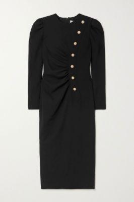 ALESSANDRA RICH - Ruched embellished wool-blend crepe midi dress