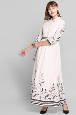 Beige Tropical Shirt Collar Fit And Flare Gown