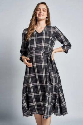 Black Maternity V-Neck Fit And Flare Midi Dress