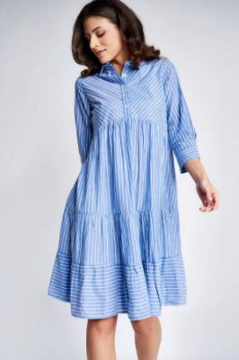 Blue - White Stripes Fit And Flare Maternity Dress