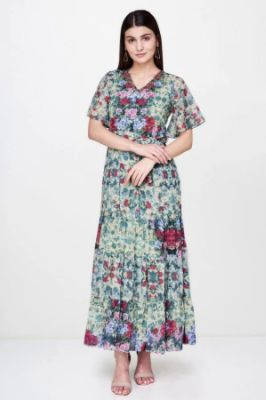 Green Floral V-Neck Flared Sleeves Gown