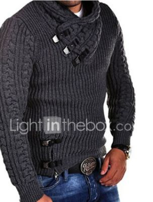 Men's Knitted Solid Color Pullover Long Sleeve Sweater Cardigans V Neck Fall Winter White Black Dark Gray