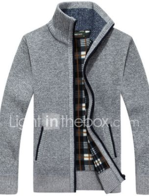 Men's Streetwear Solid Colored Cardigan Long Sleeve Regular Sweater Cardigans Stand Collar Black Wine Light gray