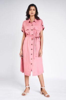 Pink Solid Shirters Dress