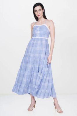 Powder Blue Checks Square Neck Straight Gown