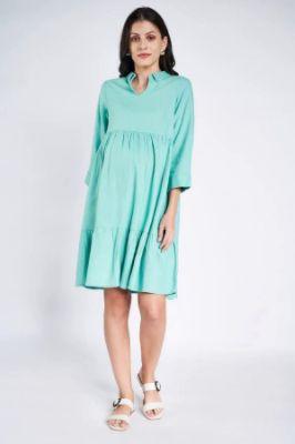 Sustainable Mint Maternity Short Dress