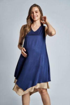 Sustainable Navy Maternity Sleeveless Dress