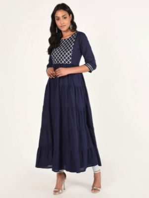 Gota Work Tiered Ethnic Dress