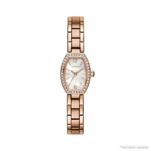 18mm Ladies' Caravelle Crystal Watch with Mother of Pearl Dial and Rose Gold-tone Bracelet