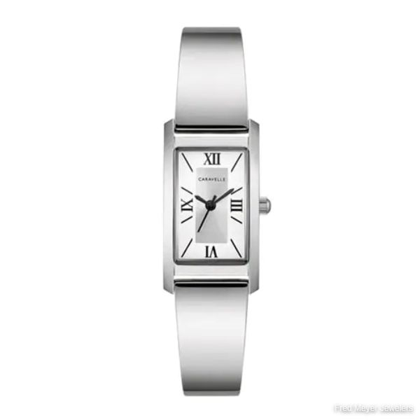 18mm Ladies' Caravelle Watch with Silver-Tone Dial and Silver-Tone Stainless Steel Bracelet