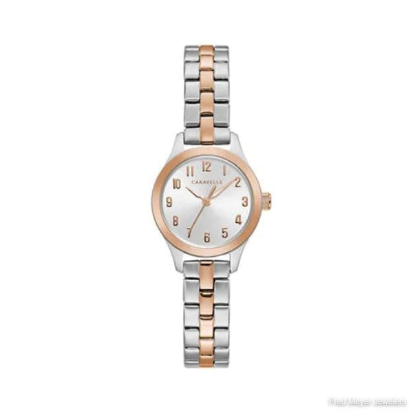 24mm Ladies' Caravelle Watch with Silver-Tone Dial and Two-Tone Bracelet