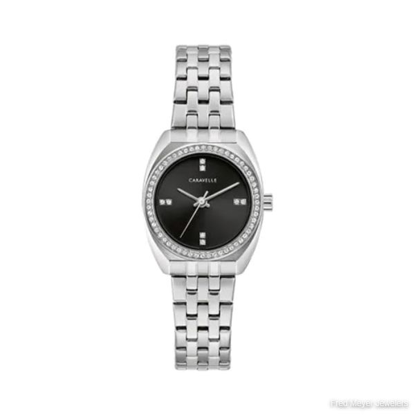26mm Ladies' Caravelle Crystal Watch with Black Dial and Stainless Steel Bracelet