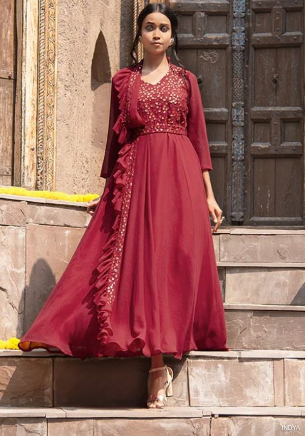 Maroon Belted Anarkali Tunic with Attached Dupatta