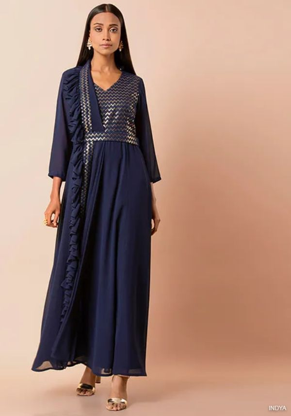 Navy Belted Anarkali Tunic with Attached Dupatta