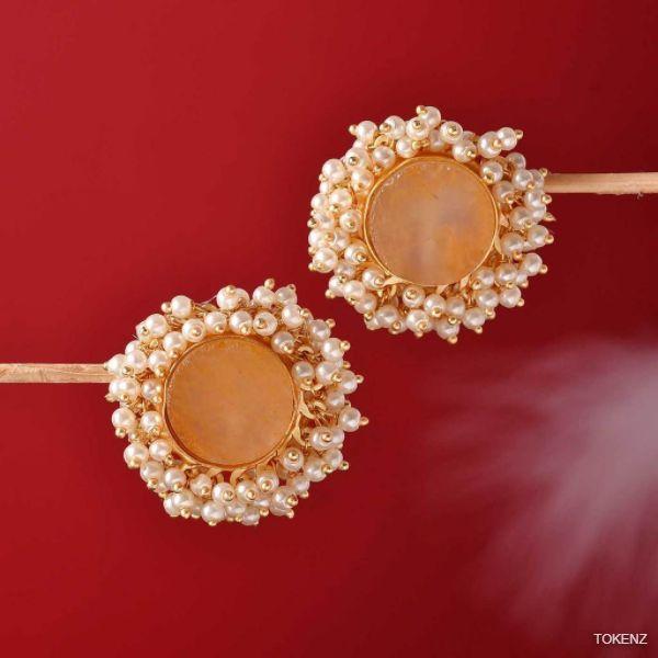 Orange Quartz Round Earrings