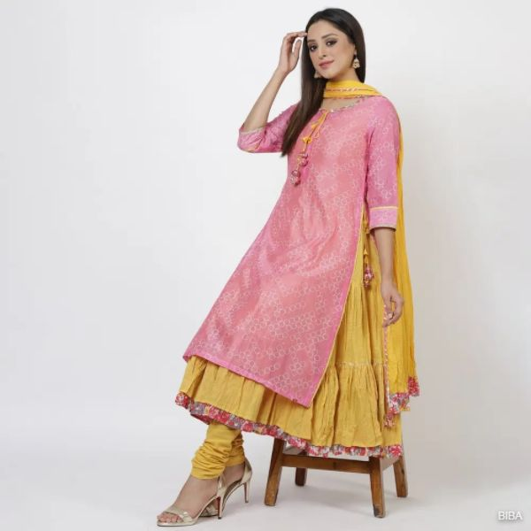 Pink Cotton A Line Suit Set