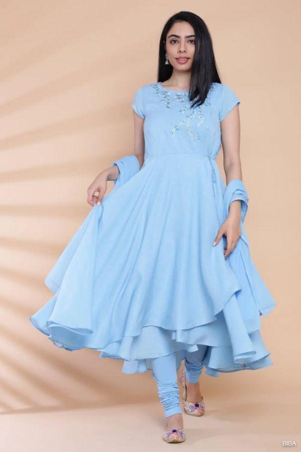Powder Blue Art Silk Anarkali Suit Set