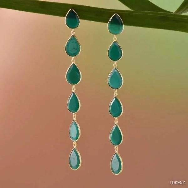 Stylish Seven Onyx Dewdrops Earrings