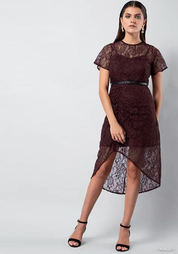 Wine Lace Ruched Midi Dress with Leather Belt