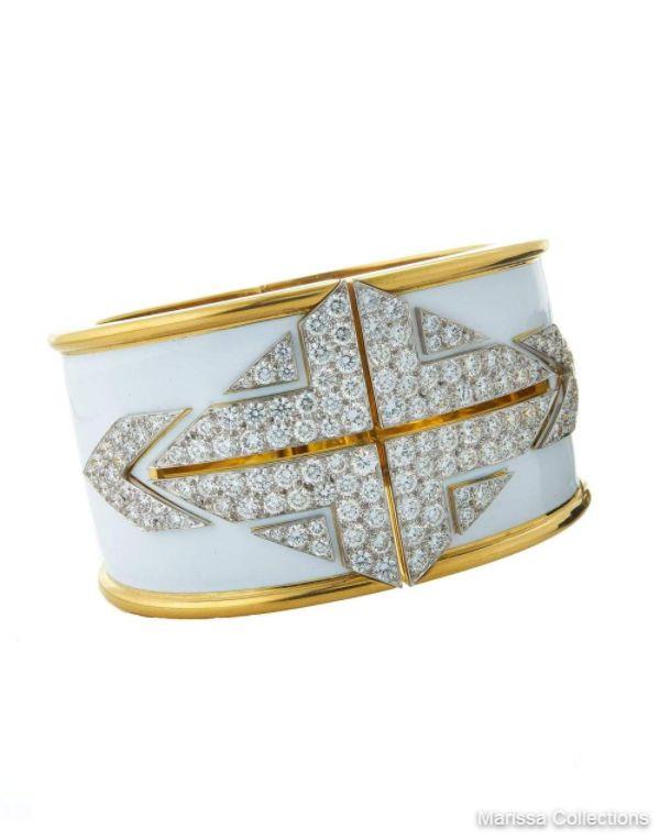 DAVID WEBB - Lux White Enamel Diamond Cuff