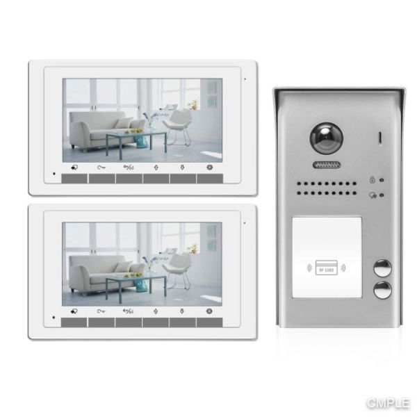 Video Intercom Entry System DK1722S 2 Apartment Audio/Video Kit with 2 Inside Monitors