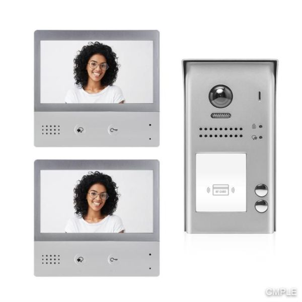Video Intercom Entry System DX4722M 2 Apartment Audio/Video Kit with 2 Touch Screen Monitors