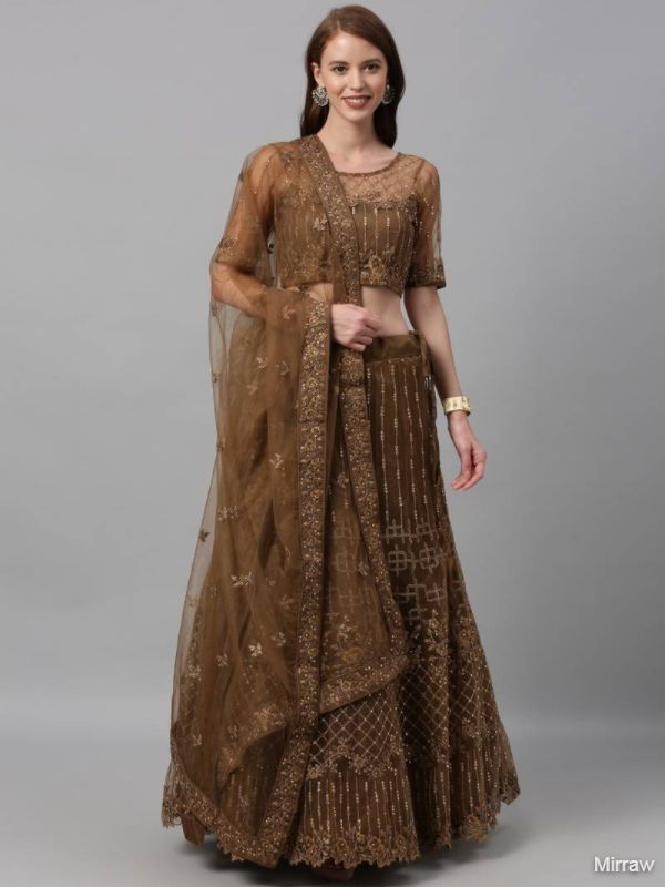 BISCUIT COLOUR NET A-LINE SEMI-STITCHED LEHENGA WITH UNSTITCHED BLOUSE