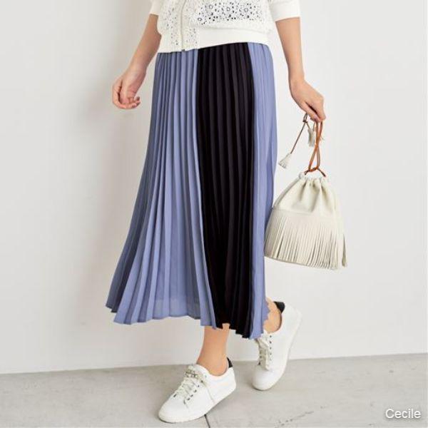 [Chubby size] Bicolor pleated skirt