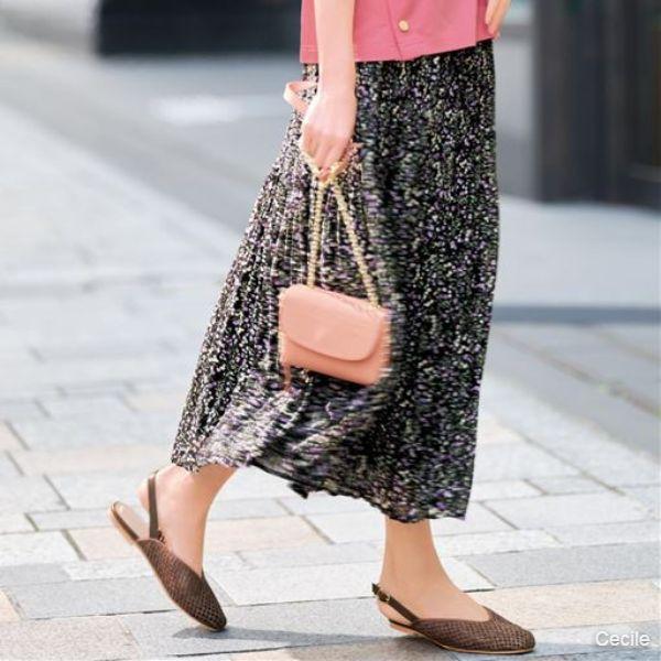 [Chubby size] Majolica pleated skirt