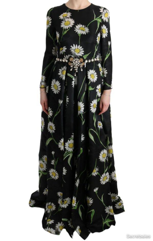 Dolce & Gabbana Multicolor Silk Sunflower Print Long Maxi Dress