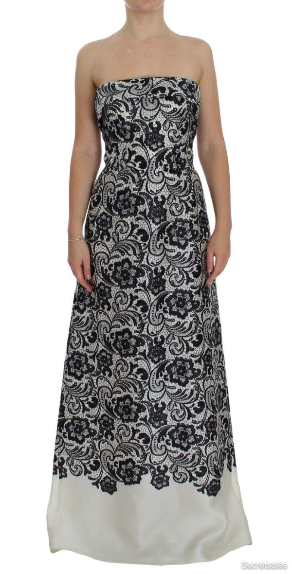 Dolce & Gabbana White Floral Lace Silk Corset Maxi Dress